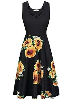 Womens V Neck Criss Cross Midi Dress Sleeveless A-line Cocktail Party Tank Dress Sun Flower X-Large
