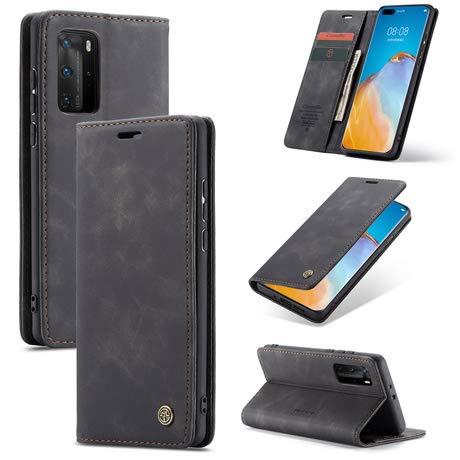 HülleMe - Handyhülle für Huawei P40 Pro Plus - Klapphülle - Vintage Leder Flip Schutzhülle - Magnetverschluss - Kartenfächer - Schwarz
