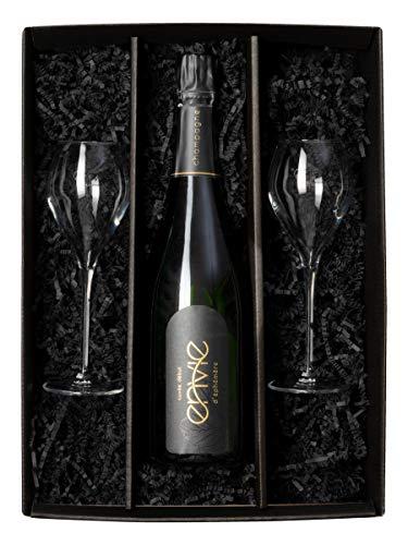 Champagner mit Gläsern Vegan Geschenk-Set Flasche Champagner Champagner Geschenkset mit Gläser Brut Öko [Exklusives Geschenk]