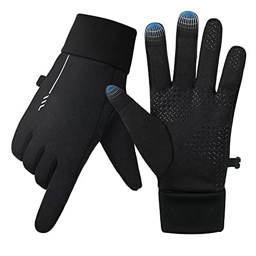 Winter Handschuhe Herren Damen Wasserdicht Winddichte rutschfest Fahrradhandschuhe Touchscreen Laufhandschuhe Winterhandschuhe Sporthandschuhe Schwarz zum Laufen Fahren Radfahren Joggen Camping