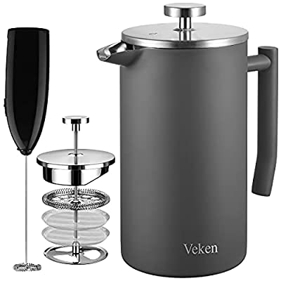 Veken French Press Coffee Tea Maker 34oz, 304 Stainless Steel Insulated Coffee Press with 4 Filter Screens Milk Frother, Rust-Free, Dishwasher Safe, Grey