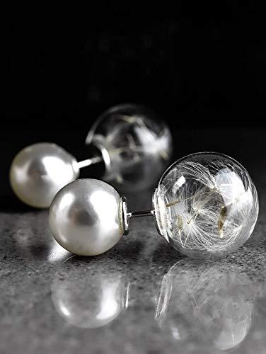 Ohrstecker Doppel - Perlen mit Echten Pusteblumen - Weiß - Steck Ohrringe Kugel