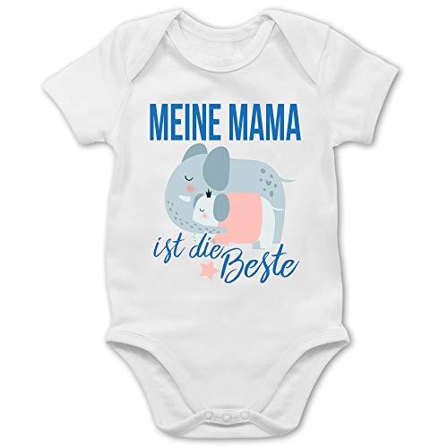 Muttertagsgeschenk Tochter & Sohn Baby - Meine Mama ist die Beste Elefanten - 3/6 Monate - Weiß - Baby Elefant - BZ10 - Baby Body Kurzarm für Jungen und Mädchen