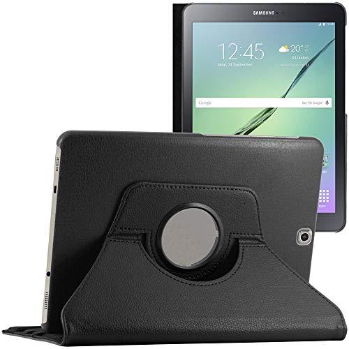 ebestStar - kompatibel mit Samsung Galaxy Tab S2 9.7 Hülle SM-T813, T815 T810 Rotierend Schutzhülle Etui, Schutz Hülle Ständer, Rotating Case Cover Stand, Schwarz [Tab: 237.3x169x5.6mm 9.7\'\']