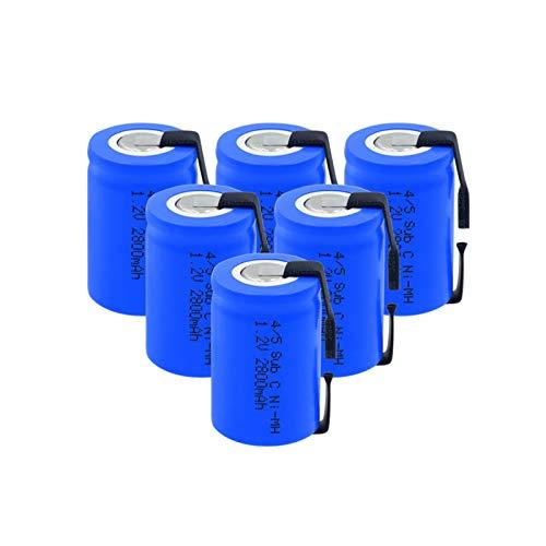 hsvgjsfa Batería Ni Mh De 1.2v 2800mah 4/5 Sub C (4/5sc), Recargable con LengüEtas De níQuel para Soldar para Herramientas EléCtricas Maquinilla De Afeitar EléCtrica 6Pieces