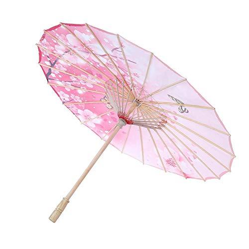 TOPINCN Ombrello di Carta Oleata Fatte a Mano Impermeabile a Ombrello Ombrello di Danza Classica Cinese con Motivo Floreale Antivento(Rosa)