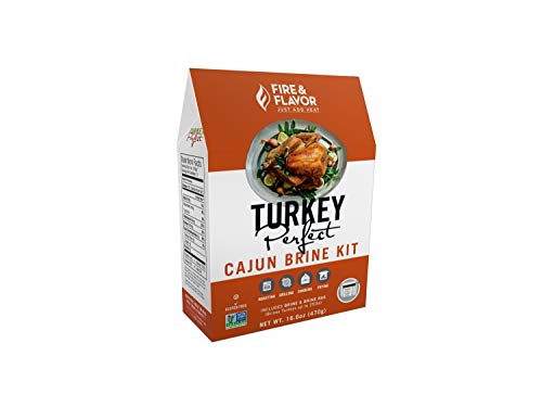 Fire & Flavor All Natural Turkey Perfect Cajun Brine Kit, Perfect for Roasting, Grilling, Smoking, and Frying 16.6Ounces