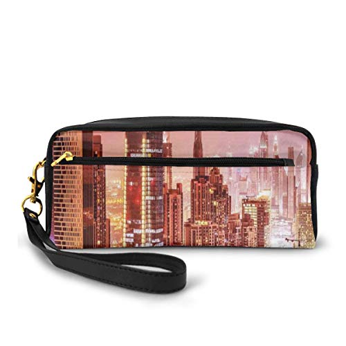 Pencil Case Pen Bag Pouch Stationary,Dubai At Night Cityscape With Tall Skyscrapers Panorama Picture Arabian Peninsula,Small Makeup Bag Coin Purse