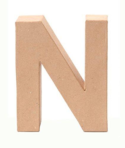 Glorex 6 2029 114 - Papp - Buchstabe N, Buchstabe aus brauner Pappe, ca. 17,5 X 5,5 cm groß, zum bemalen und bekleben, für Serviettentechnik und Décopatch, ideal als Dekoration