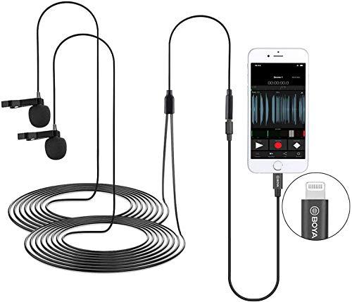 BOYA BY-M2D Micrófonos de solapa digitales omnidireccionales de doble cabezal compatibles con dispositivos iPhone, iPad y iPod Touch iOS