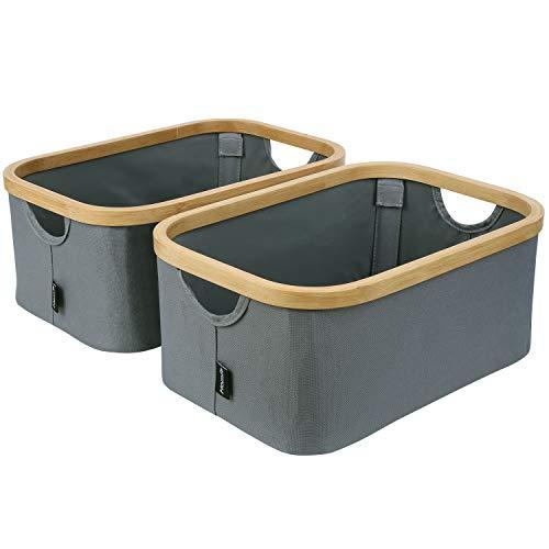 HOMFA Juego de 2 Cajas de Almacenamiento Plegables con Asas para Hogar y Oficina Cestos Organizadores para Ropa/Juquete/Libro/Comida de Tela Oxford y Bambú Grises 38 x 26 x 16cm