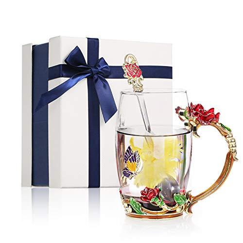Decdeal Taza de Té de Cristal de Flores con Cuchara, sin Plomo Rosa y Mariposa de Vidrio Transparente con Asa, Regalo de Cumpleaños/Navidad para Mujeres Mamá Abuela Amiga
