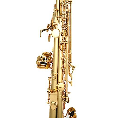 Saxofón soprano de latón con bolsa de transporte, instrumento de saxofón soprano derecho para rendimiento de grupo, boda, fiesta