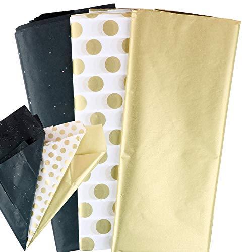 (50 * 65cm) 30pz Carta Velina per Confezioni Carta da Regalo Oro Nero Avvolgente Per Tessuti Lavori Artigianali Fai da Te Imballaggio