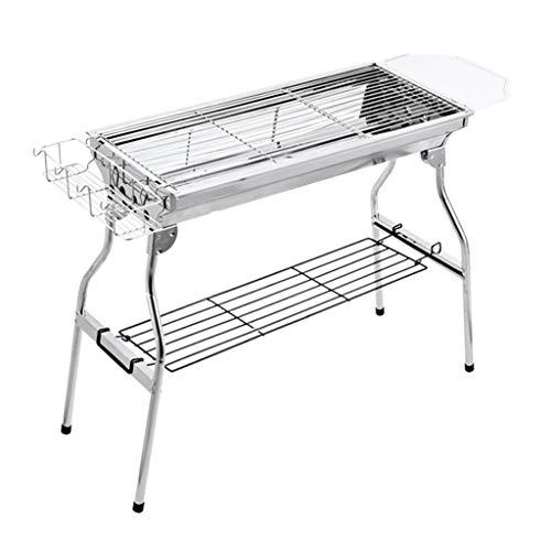 Barbecue Grill Grillgeräte für den Außenbereich Edelstahlofen Holzkohlegrill geeignet für mehr als 5 Personen Campinggrill Rauchfrei (Color : Silver, Size : 73 * 33.5 * 70cm)