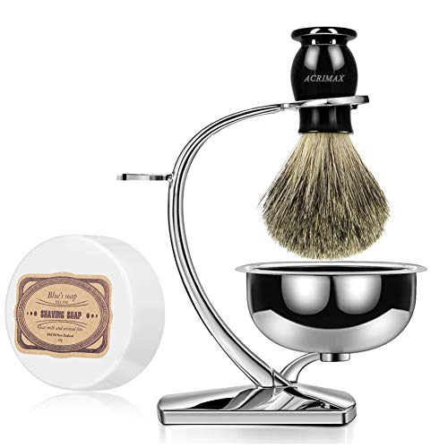 ACRIMAX Luxury Shaving Kit for Men, Badger Shaving Brush Set with Shave Soap, Durable Shaving Razor Brush Stand and Stainless Steel Soap Bowl Set for Gentleman Safety Razor