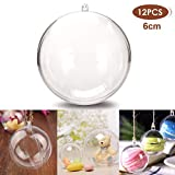 StillCool Clear Ornaments Plastic Fillable Ball for Christmas Ornament Baubles - Pack of 12 (60mm - Carton Packaging)