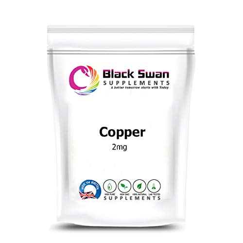 Black Swan Copper Supplement | Natural Dietary Supplement | Anti-oxidant Function | Support Immune System | Red Blood Cells Formation |Energy Levels | Absorb Iron | 2mg, Tablets (60 tabs)