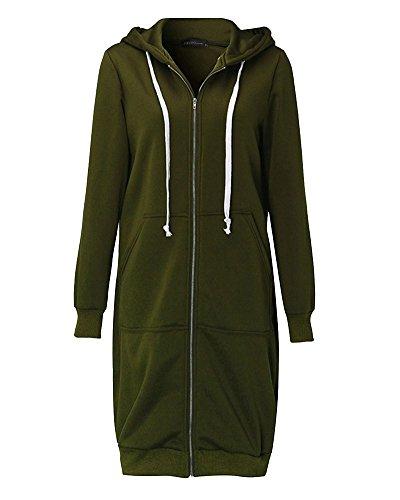 Mujer Sudaderas con Capucha Largas Sweatshirt Cremallera Hoodies Jersey Abrigos Chaquetas Verde del Ejército 4XL