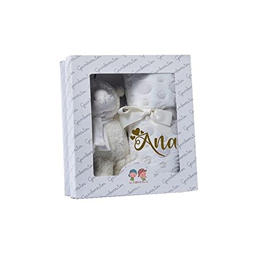 Set Peluche Manta Personalizada con nombre bordado Regalo recién nacido Bebe