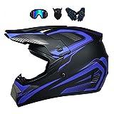 LALAGOU casque de Motocross,Casque de Moto Cross Fullface Pour Adulte,Casque Downhill pour Enfants,des Lunettes,des Gants,un Masque Facial,pour BMX MTB ATV,Certification ECE et DOT (S (52-53 cm))