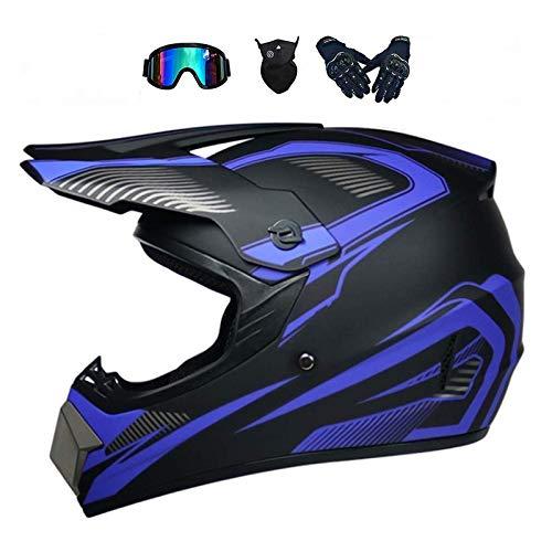 LALAGOU - Casco da moto da cross integrale, per adulti, MTB, ATV, con occhiali, guanti e maschi, colore: Multiple (D, XL (58-59 cm)