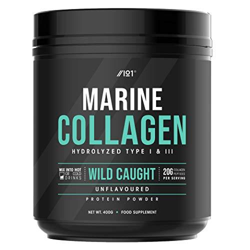Wild-Caught Marine Collagen Powder - 400g - Unflavoured, Types I & III Collagen Peptides - Hydrolysed Deep Ocean Canadian Collagen. Non GMO, Gluten Free, Kosher, Halal.