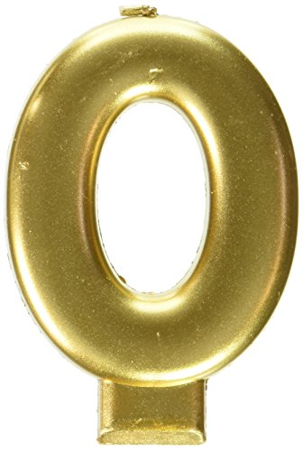 amscan Birthday Celebration, Numeral #0 Metallic Candle, Party Supplies, Gold, 3 1/4'