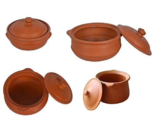 Village Decor Earthen Clay Indian Cooking Pot Set - 4 Piece