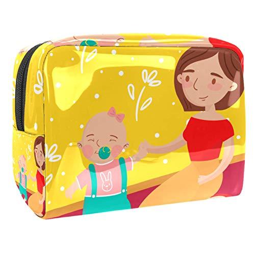 Bolsa de cosméticos para Mujeres Madre bebé Jugando Pelota Bolsas de Maquillaje espaciosas Neceser de Viaje Organizador de Accesorios