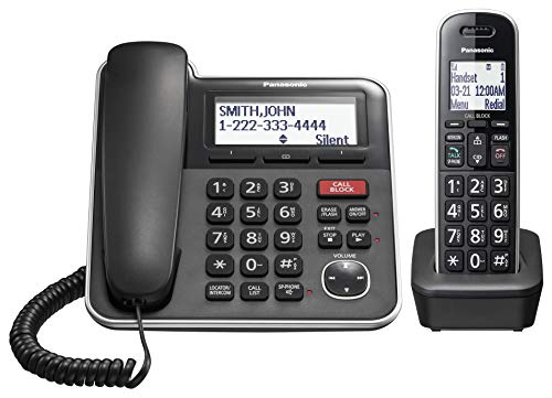 Panasonic Expandable Corded/Cordless Phone System with Answering Machine and One Touch Call Blocking – 1 Handset - KX-TGB850B (Black)