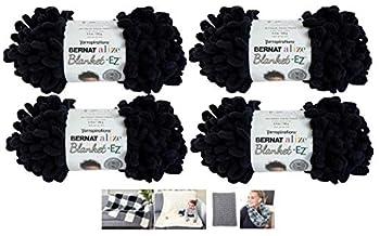 Alize Bernat EZ Blanket Yarn Bundle 100% Polyester  Black 4-Pack