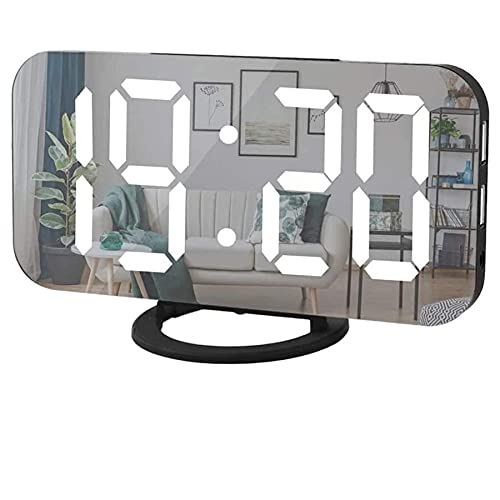 Digital Alarm Clock,6' Large LED Display with Dual USB Charger Ports | Auto Dimmer Mode | Easy Snooze Function, Modern Mirror Desk Wall Clock for Bedroom Home Office for All People