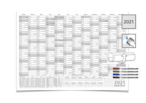 Wandkalender/Jahreskalender 2021, DIN A1 84,0 x 59,4 cm mit 4 Marker feucht abwischbar grau