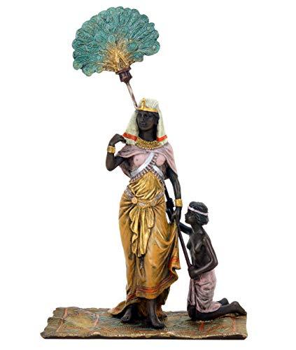 Kunst & Ambiente - Ägyptische Pharaonin mit Sklaven - Teppichbronze - Bergmann Stempel - Wiener Bronze - Sammlerfigur - Höhe 22 cm - handbemalt - Orientale - Erotik Figur - Deko - Wohndeko