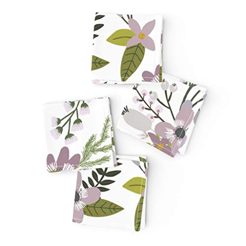 Roostery Cloth Cocktail Napkins, Floral Sprigs Leaves Purple and Blooms Flowers Lavender Print, Linen-Cotton Canvas Cocktail Napkins, 10in x 10in, Set of 4