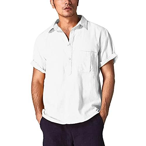 FOTBIMK Camisetas Para Hombres Mezcla De Algodón Color Sólido Camiseta Corta Manga Larga Retro Camisetas Tops Blusa Blanco