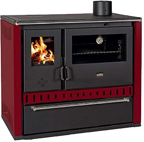 Estufa de leña de cocina con horno de acero de 15 kW con doble placa y portaleña (burdeos)