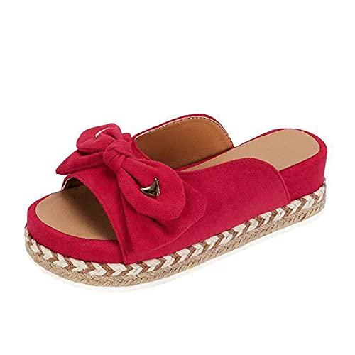 Sandalias y pantuflas con bridas traseras y de extremo abierto para mujer, zapatos de piscina y playa, rojo, 41 EU
