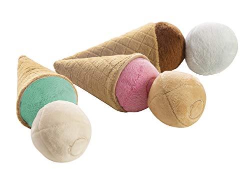 roba Zubehörset Eis mit drei Stoffwaffeln und sechs Eiskugeln aus Plüsch, magnetisch, Spielzeugeis, Spielzeugeistüte, Eistüten Set, ab 3 Jahre