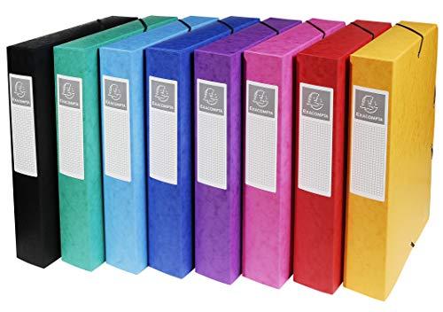 Exacompta 50600E 8-pack premium samlingslådor monterade med elastiskt band 60 mm bred tillverkad av extra stark färgspånkartong med bakskylt för DIN A4 arkivlåda dokumentlåda blandade färger