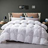 L LOVSOUL Goose Down Comforter Pinch Pleat Queen Comforter 100% Egyptian Cotton 750+ Fill Power 1200 Thread Count Down Duvet Comforter with Corner Tabs for All Seasons White Comforter-90x90Inches