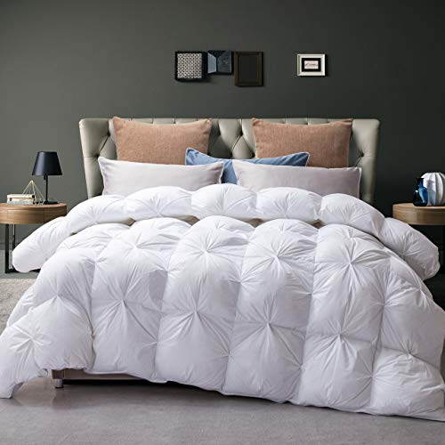 Goose Down Comforter 100% Egyptian Cotton 750+ Fill Power Insert Queen Comforter 1200 Thread Count Pinch Pleat Design Down Proof Duvet Comforter with Corner Tabs for All Seasons,White 90x90Inches