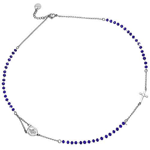 Beloved Collana donna e unisex rosario - ciondolo girocollo in acciaio inossidabile con cristalli briolè - diversi colori - madonnina e croce (Blu)