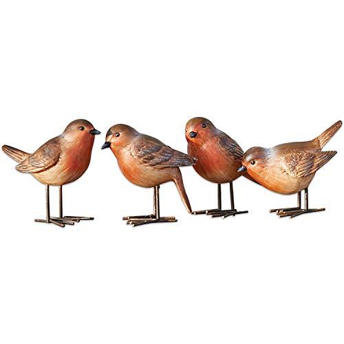 Loberon Vogel 4er Set Siblings, Polyresin/Eisen, H/B/T ca. 9/5 / 11 cm, rotbraun