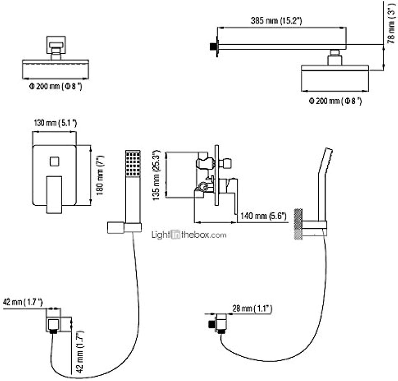 YFF Erstklassige Dusche Armaturen, modern mit Chrom einzigen Griff vier Bohrungen, Merkmal für Wandhalterung
