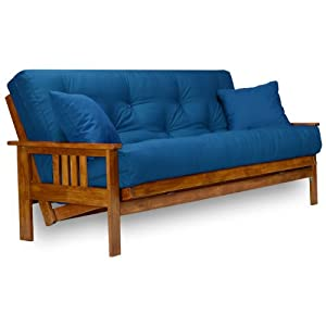 Multi-positional futon easily converts into a sofa, lounger or full size futon bed 100% solid hardwood futon frame with all wood seat and back decks in Rich Heritage stained finish Strong, sturdy, beautiful design for maximum durability ★ ★ Exclusive...
