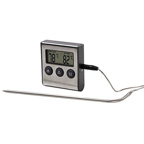 Xavax 2in1 Digitales Bratenthermometer (mit Küchenuhr, abnehmbarer Temperaturfühler, Grillthermometer Ofenthermometer Fleischthermometer)