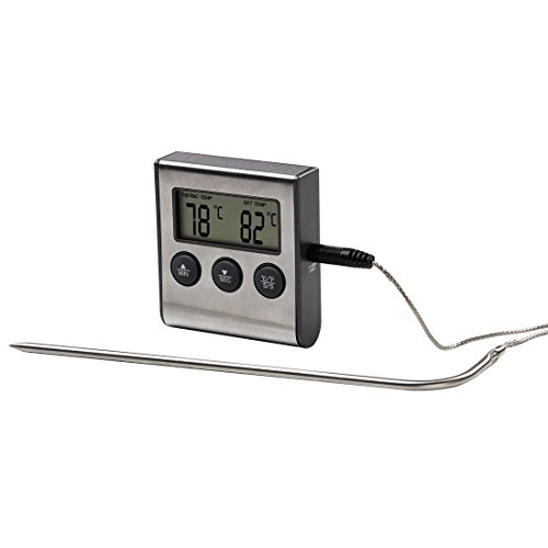 Xavax Thermomètre numérique pour rôtis (de torréfaction, numérique, 2 in 1, avec horloge de cuisine, sonde de température amovible, pour viande, -10°C à +250°C, avec minuteur, à câble) Noir/Argent