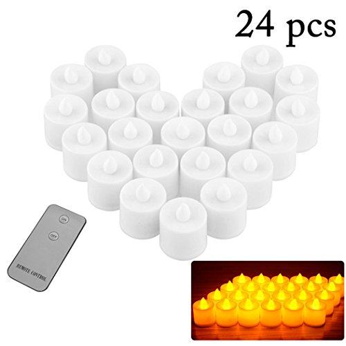 JUSTDOLIFE 24PCS LED kaars vlamloze realistische kaarslicht bruiloft theelicht met afstandsbediening geel